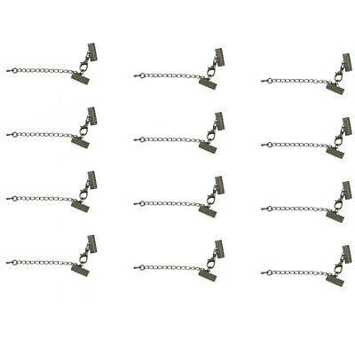 12pcs Ribbon Necklace Cord Tips Clip Clamps Ends Beads With Extender Chain