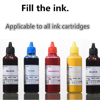 5 X 100ml Universal Printer Refill Ink Bottles for CISS or Refillable Cartridges