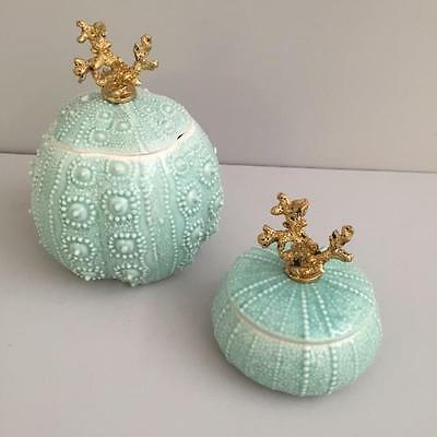 AQUA SEA URCHIN TRINKET BOXES with Gold Coral Handle - Individual or Set of 2