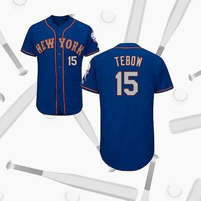 New York Mets Men Blue Baseball Jersey Tim Tebow Team Jersey 15#