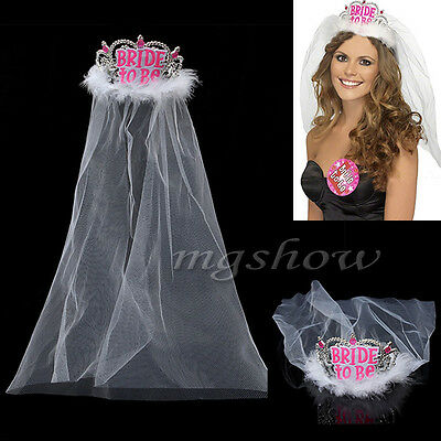 Bride to Be Tiara With Veil White Diamante Hen Night Party Do Decor Accessory UK