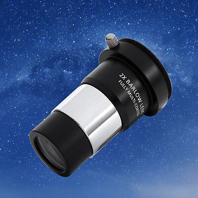 """1.25"""" 2X Barlow Lens Multi-coated Extender With Dust Cap For Telescope Eyepiece"""