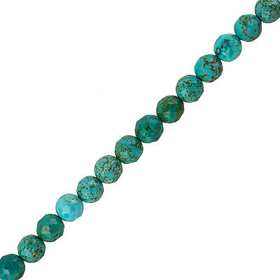 "Natural Turquoise Faceted Beads Round 8mm 15.5"" Strand (J14/3)"