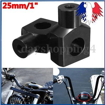 Paire Universel 1'' 25mm Support Fixation Guidon Bout Noir Pour Harley Davidson