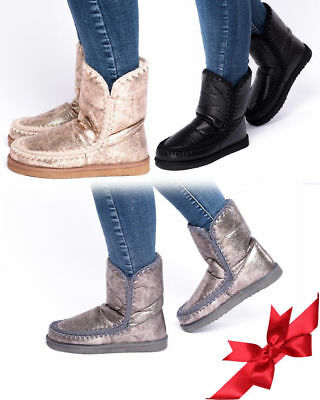 Ladies Women's Girls Flats Ankle  Boots Warm Shinny Faux Fur Line Fashion Shoes