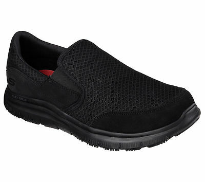 77048 Skechers MEN'S WORK: FLEX ADVANTAGE - MCALLEN Slip Resistant bbk black