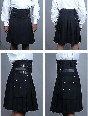 Black Utility Modern Kilt Front Side Leather Strap For Batter Adjustment