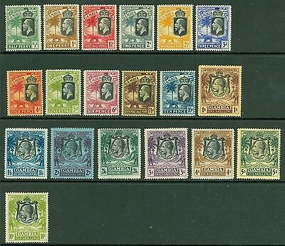SG 122-142 Gambia 1922-27 set of 19 values. Very fresh mounted mint CAT £275