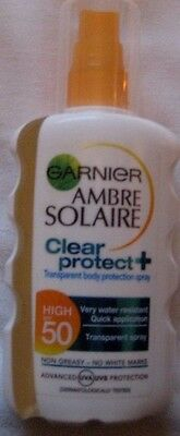 200Ml Garnier Ambre Solaire Clear & Protect Transparent Spray Factor 50 Spf