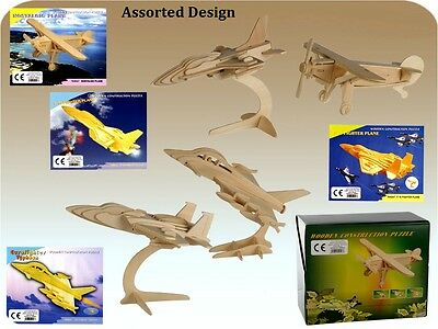 Children's DIY 3D Wooden Plane Construction Puzzle For Kids Toy Xmas Gift New