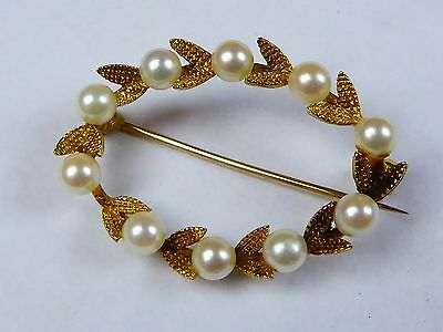 solid hallmarked .375 9ct gold 4mm cultured pearls posy ring brooch