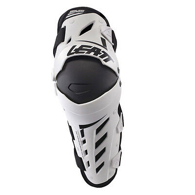 Leatt MX Motocross Armour - Adult Dual Axis Knee Guards (Pair) - White/Black
