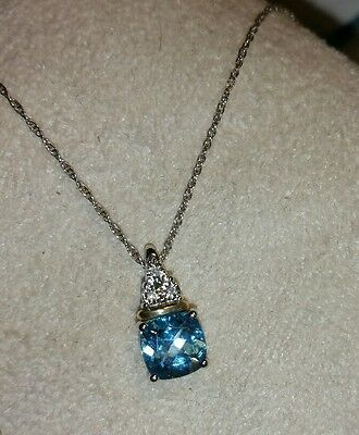 Alwand Vahan 10k Yellow Gold & Sterling silver Swiss Blue Topaz pendant necklace