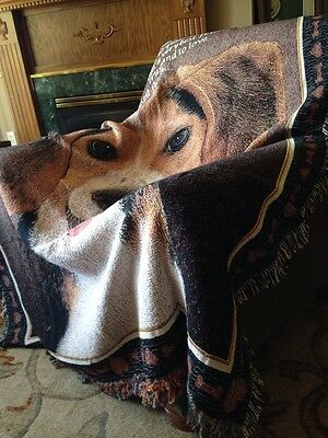 Love Beagle dog Companion Best Friend Cotton Jacquard Woven Throw Blanket NEW