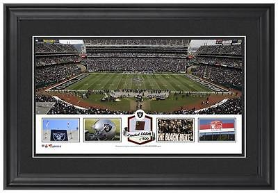 O.co Coliseum Oakland Raiders Framed Panoramic Collage with Game-Used Football
