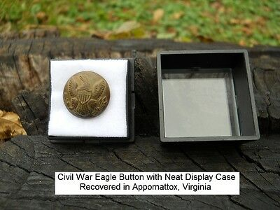 Old Rare Vintage Antique Civil War Relic Eagle Button Appomattox Camp with Case