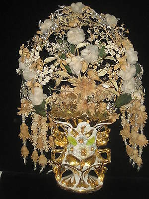 Rare Antique French Wedding Tiara Corsage Wired in Porcelain Vase-Not Wax Tiara