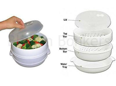 2 Tier Microwave Cooker Steamer Vegetable Rice Pasta Fish Cooking Pot Dish 29