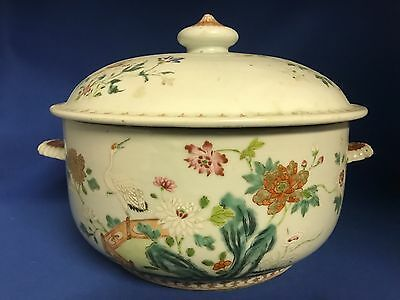 Chinese Export Porcelain FAMILLE ROSE Soup Tureen with Lid QIANLONG Late 18thC