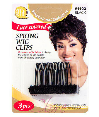 Qfitt Lace Covered Spring Wig Clips Fabric Edges Hair Comb 3pcs/1PK #1102 Black