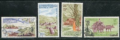 Laos 1960 Plain Of Jars (Stones) - Buddhist Monk - Animals Set Of 4 Stamps!