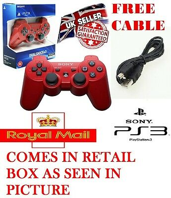 100% New Red Dual Shock Six Axis Bluetooth Wireless Ps3 Controller Game Pad