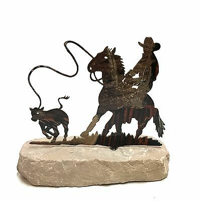 Western Home Decor Metal Cowboy Roper Horse Paperweight
