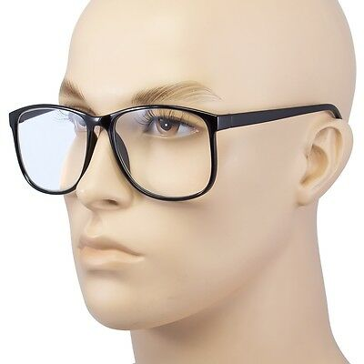 Large Oversized way-farer Glasses READING Clear Lens Thin Nerd Glasses +1.50