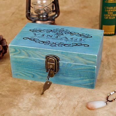 VINTAGE Blue Wooden Jewellery Box with Metal Lock & Key Trinket Chest Gift