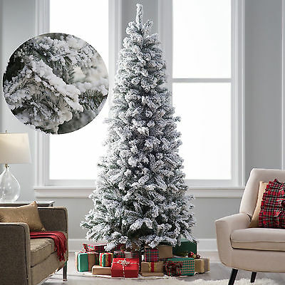 Flocked Christmas Pine Tree 8Ft Pre Lit Artificial Holiday White Snow 1200 Tips