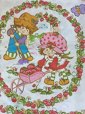 Vintage Strawberry Shortcake Twin Flat Sheet 1980 Huckleberry Pie Bedding