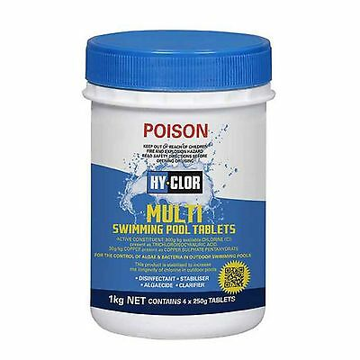 Hy-Clor 5-In-1 MULTI POOL TABLETS Control of Algae and Bacteria, 1kg or 2kg