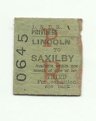 LNER ticket, Lincoln to Saxilby, 1940