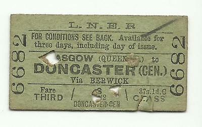 LNER ticket, Glasgow (Queen Street) to Doncaster (Central), 1946