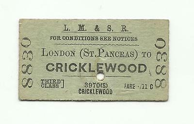 LMS ticket, London (St Pancras) to Cricklewood, 1944