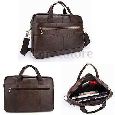 Men's Genuine Leather Briefcase Handbag Business Laptop Shoulder Messenger Bag