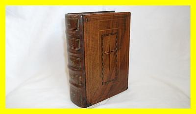 A Large Victorian Inlaid Treen Book Shaped Box For Bible/masonic Book, Symbols