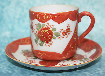 Antique Vintage Japanese Porcelain Red Kutani Coffee Cup & Saucer Signed