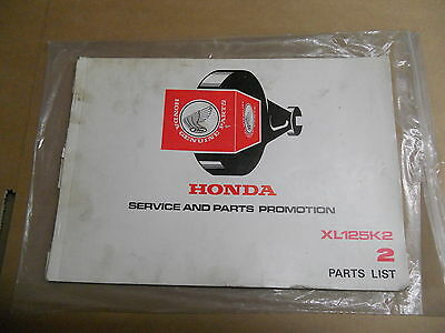 Honda Xl125 K2 Service And Parts Promotion 2 Parts List £29.99 Used Good