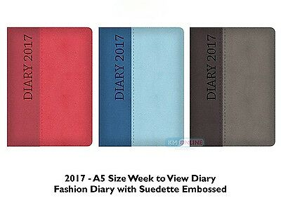 2017 A5 Week to View Two-tone suedette embossed Diary Any One Random Colour x 1