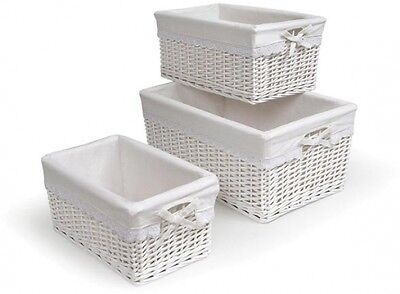 Durable Three White Storage and Organization Wicker Basket Set with Liners New