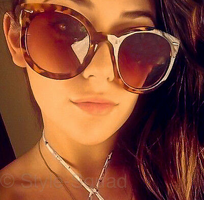 Vintage Style Round Amber Brown Tortoise Super Fashion Duper Sunglasses 1439 UNI
