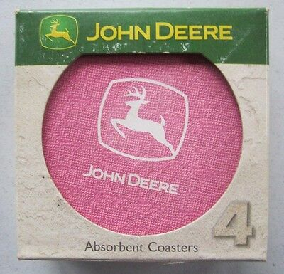John Deere Logo Set of 4 Absorbent Coasters Nature Stone Cork Backing Pink