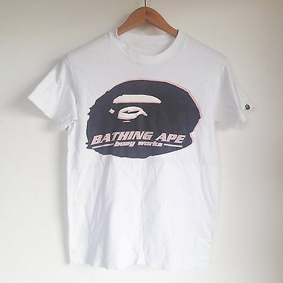 Vintage Authentic A Bathing Ape Bape Busy Works Big Logo Hip Hop T-Shirt Small