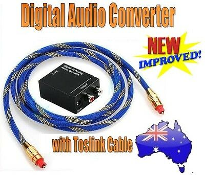 Digital to Analog Audio Converter & Toslink Cable - Optical to L/R RCA & 3.5mm.