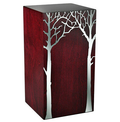 Artistic Wood Urn with Tree on The Front .Funeral Urn For Ashes.Cremation Urn