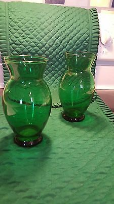 Two Vintage Anchor Hocking Forest Green Glass Vases