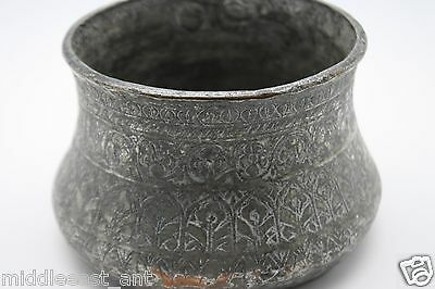 Rare Antique Islamic/persian Tinned Copper/bronze Ceremony Bowl Signed Marked