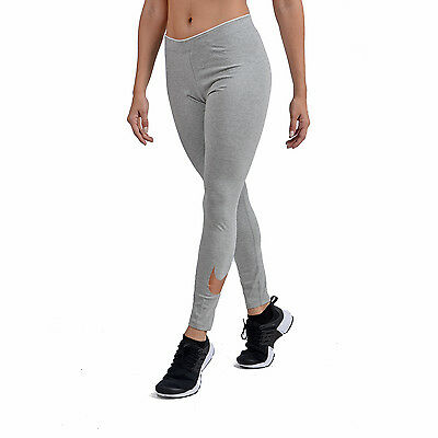 NEW Womens Nike Club Logo 2 Gym Sports Workout Fitted Leggings-Grey & Bronze