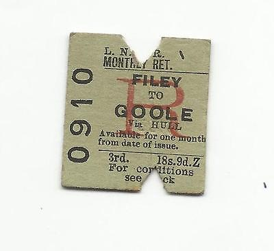 LNER ticket, Filey to Goole, 1955